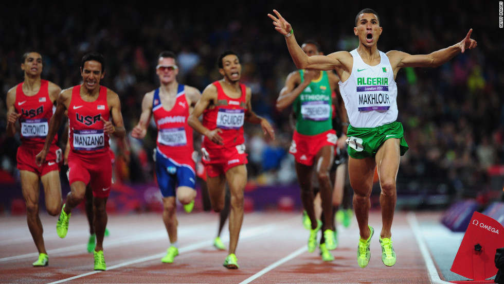 Taoufik Makhloufi of Algeria wins the gold in the men's 1500-meter final.