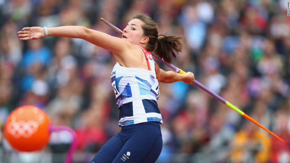 Goldie Sayers of Great Britain competes in the women's javelin throw qualification.