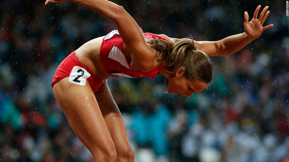 Lolo Jones of the United States competes in the women's 100-meter hurdles semifinals.