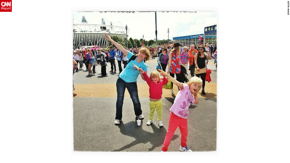 "Emma Allen from Farnborough, England and her two daughters strike a Bolt pose with her two daughters at the Olympic Park. ""My eldest is Olympics mad and loves this pose! I thought it would be great to do it in the Olympic Park. Of course in the evening Usain did his thing again!"""