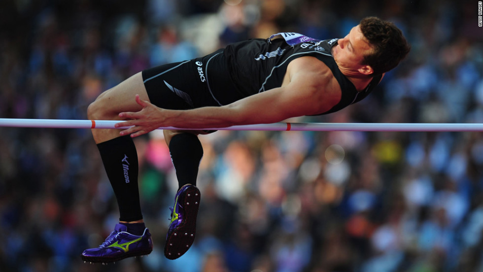 Brent Newdick of New Zealand competes in the men's decathlon high jump.