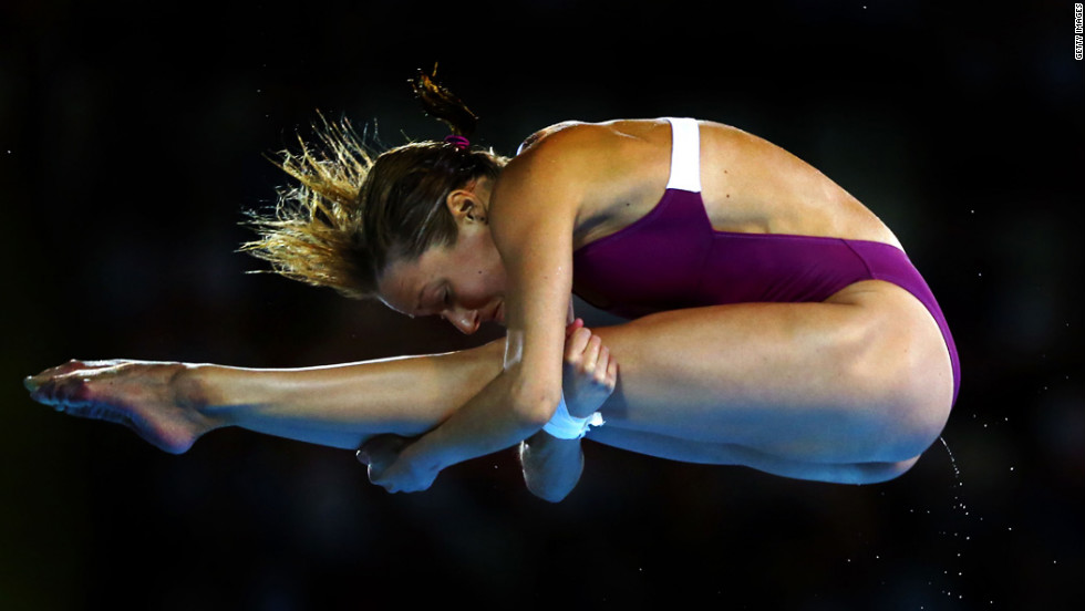 French diver Audrey Labeau competes in the women's 10-meter platform preliminary.