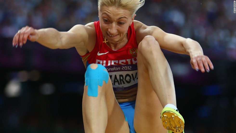 Anna Nazarova of Russia competes in the women's long jump final.
