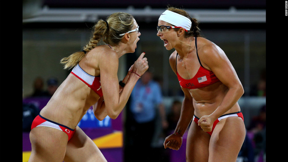 Kerri Walsh Jennings, left, and Misty May-Treanor of the United States celebrate winning the gold medal.