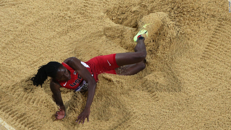 Brittney Reese of the United States competes in the women's long jump final.