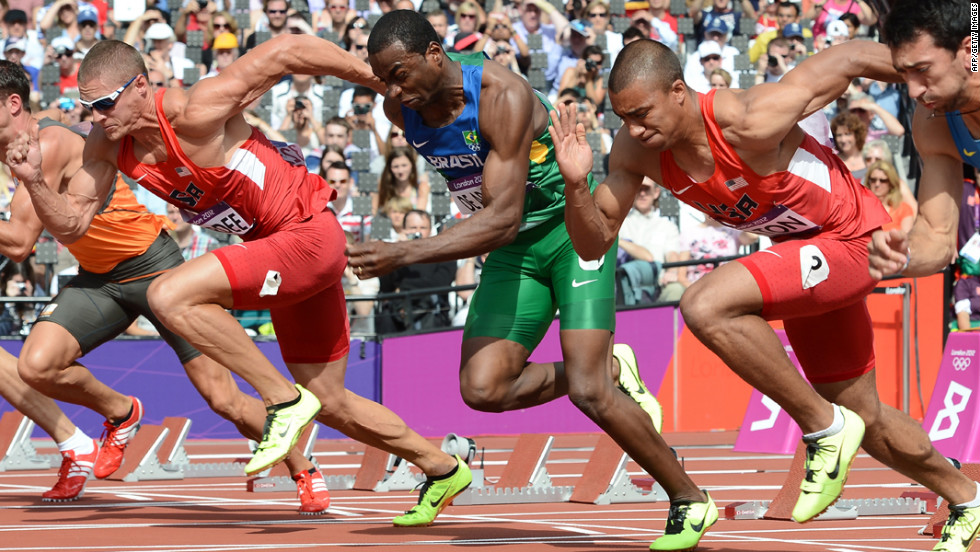 From left, Trey Hardee of the United States, Luiz Alberto de Araujo of Brazil and Ashton Eaton of the United States compete in the men's decathlon 100-meter heats.