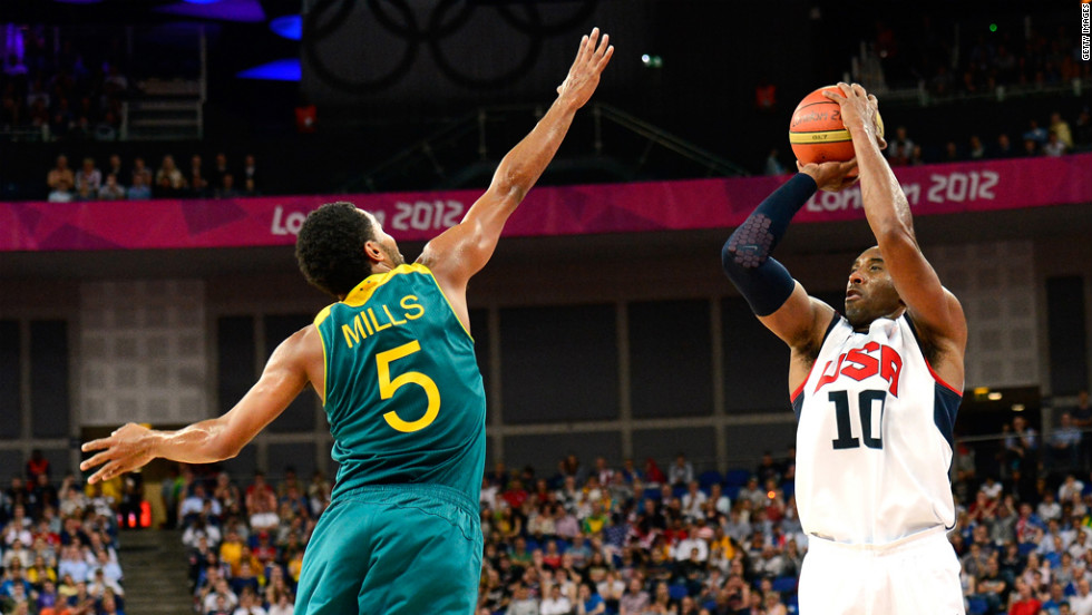 "Kobe Bryant, No.10 of United States, shoots over Patrick Mills, No.5 of Australia, in the third quarter during the men's basketball quarterfinal game on Wednesday, August 8. <a href=""http://www.cnn.com/2012/08/07/worldsport/gallery/olympics-day-eleven/index.html"">Check out Day 11 of competition</a> from Tuesday, August 7. The Games ran through Sunday, August 12."