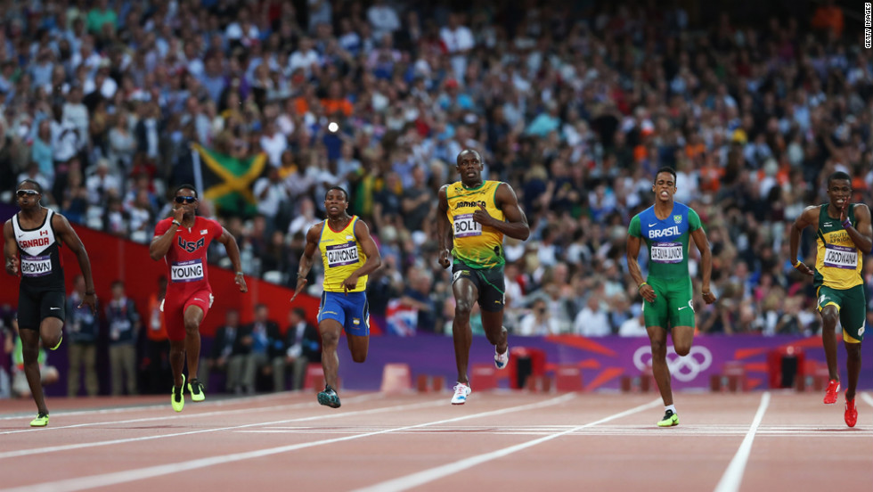From left, Aaron Brown of Canada, Isiah Young of the United States, Alex Quinonez of Ecuador, Usain Bolt of Jamaica, Aldemir Da Silva Jr. of Brazil and Anaso Jobodwana of South Africa compete in the men's 200-meter semifinals.