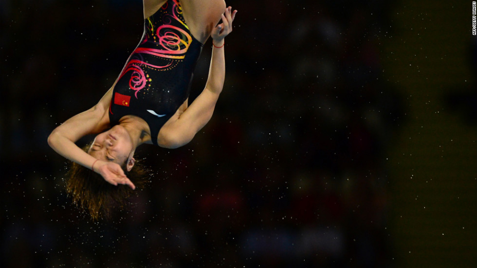 China's Hu Yadan competes in the women's 10-meter platform preliminary round during the diving event.