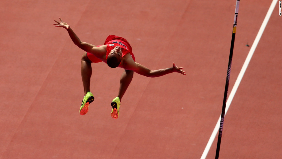 Ashton Eaton of the United States takes part in the men's decathlon pole vault.