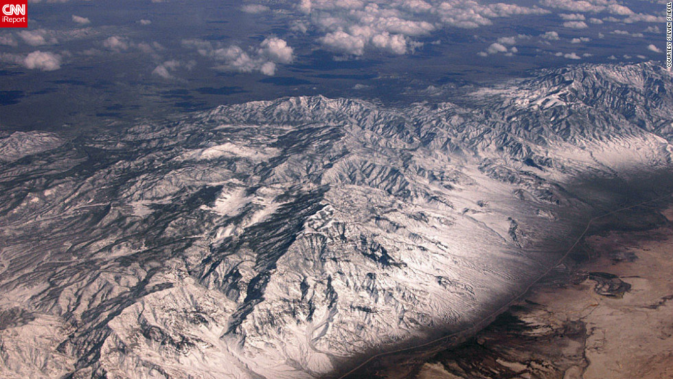 """Is this the Continental Divide? Or just some mountains?"" wonders iReporter Steven Stiefel, who captured this contrasting landscape on a flight from California to Atlanta. ""You really get a sense of how huge our continent is and how diverse the landscape is from region to region."""
