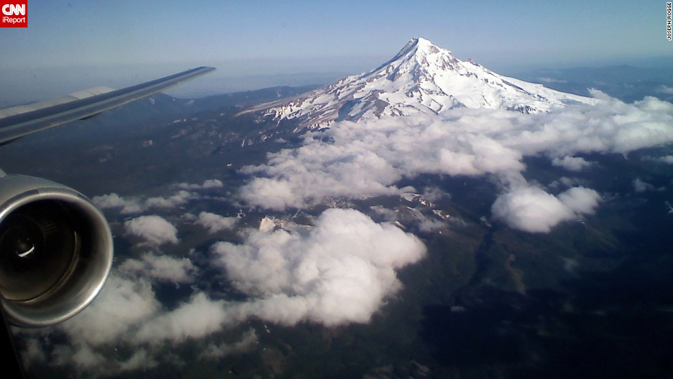 "Joseph Rogge got this great shot of Mount Hood on a flight into Portland, Oregon. ""There is much beauty in the world, sometimes you see it from unexpected perspectives."""