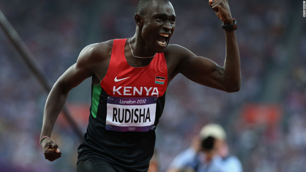David Lekuta Rudisha of Kenya celebrates after winning gold and setting a new world record in the men's 800m final on Day 13 of the Games.
