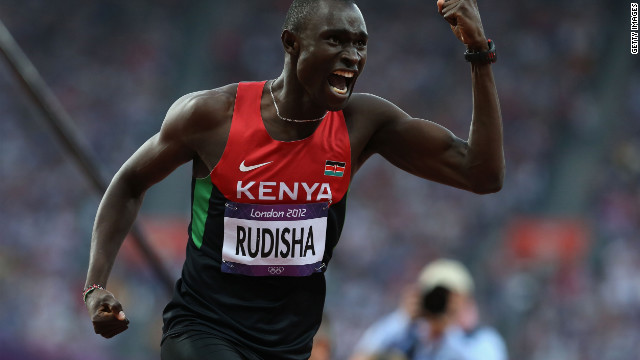 David Lekuta Rudisha of Kenya celebrates after winning gold and setting a new world record in the Men's 800m Final on Day 13 of the London 2012 Olympic Game.