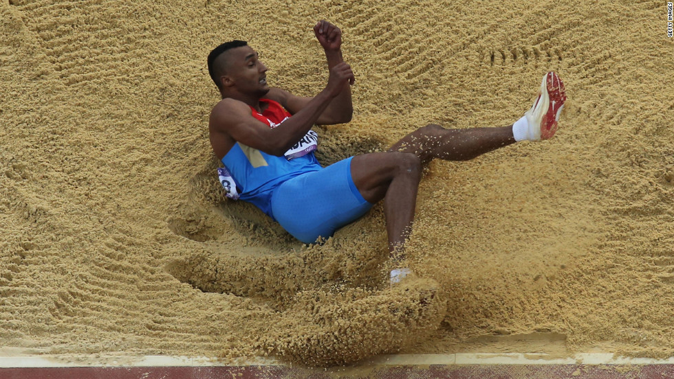 Lyukman Adams of Russia competes during the men's triple jump final.