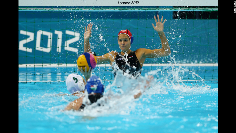 Flora Bolonyai of Hungary attempts to make a save during the women's water polo bronze medal match against Australia.
