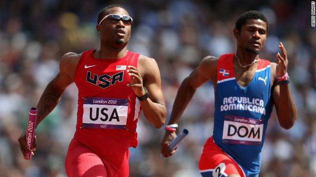 Manteo Mitchell of the United States and Gustavo Cuesta of Dominican Republic compete Thursday.