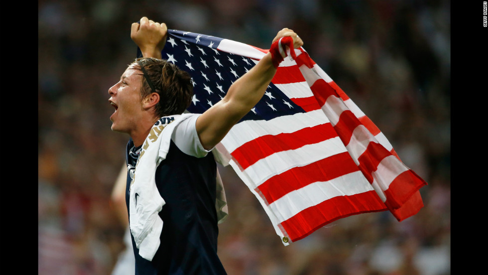 Forward Abby Wambach is ecstatic after the United States defeated Japan 2-1 in the women's soccer gold medal match on Thursday, August 9, Day 13 of the London Olympics. Wambach missed the 2008 Games due to a broken leg.