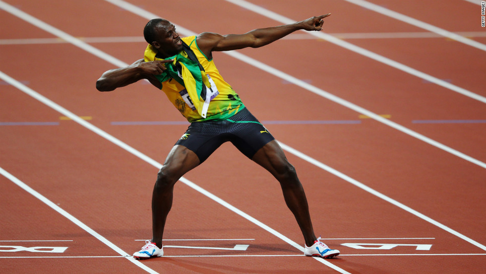 Usain Bolt of Jamaica celebrates after winning gold in the men's 200-meter final.