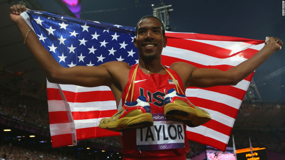 Christian Taylor of the United States celebrates after winning gold in the men's triple jump on Thursday.