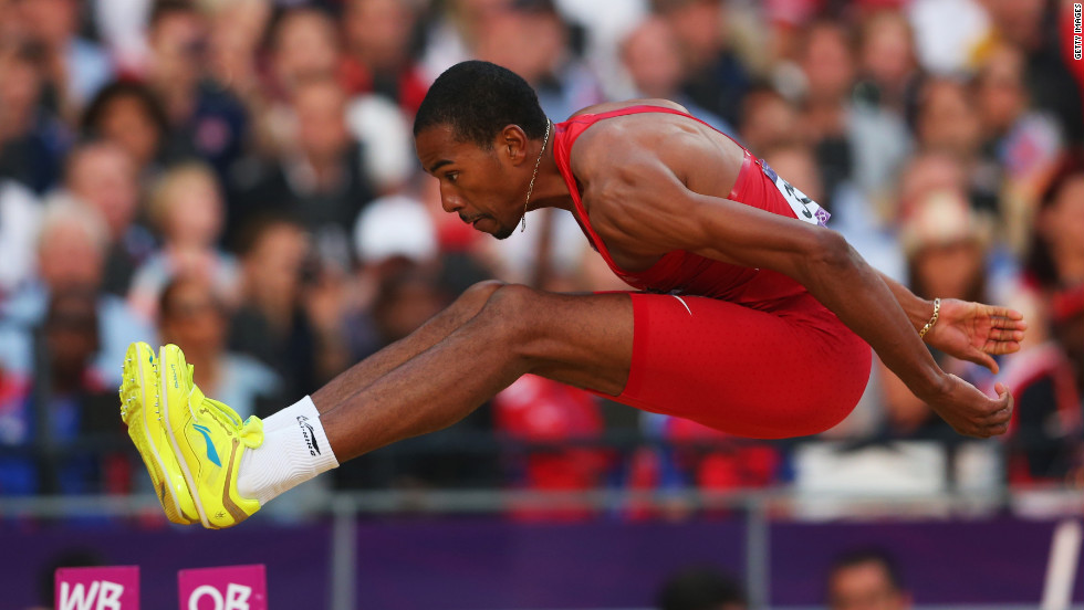 Christian Taylor competes in the men's triple jump final.