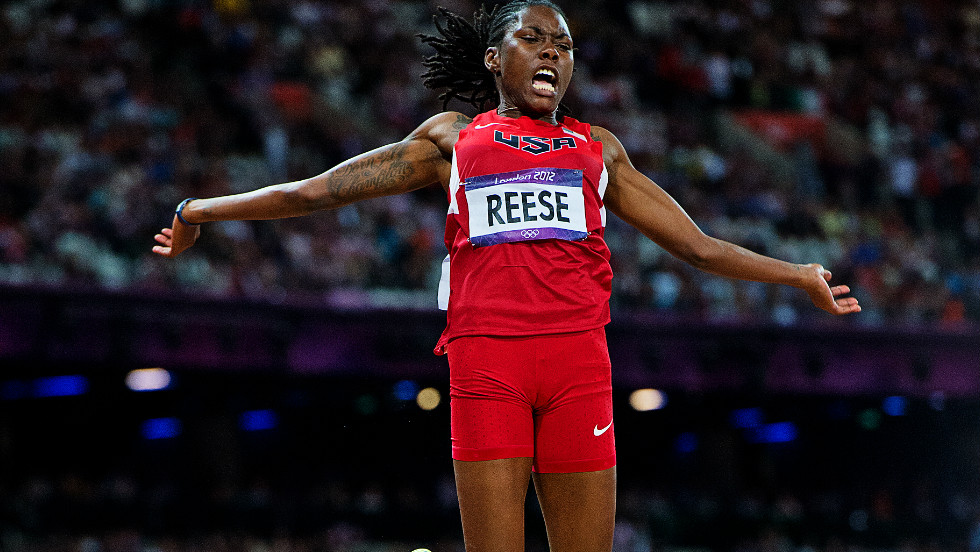 Long jumper Brittney Reese triumph in the women's competition on a golden night for Team USA. She recorded a leap of 7.12 meters beat Russia's Elena Sokolova personal best jump by 5centimeters.