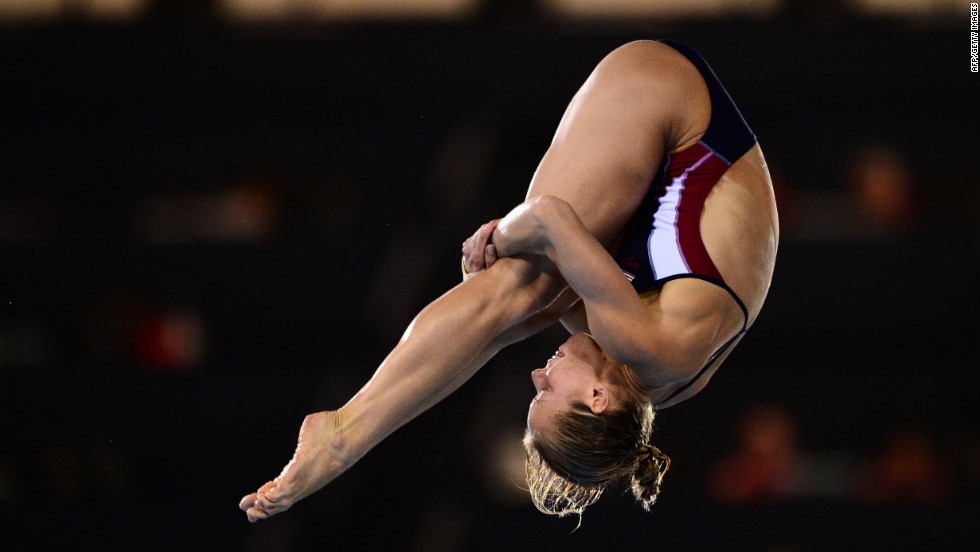 Brittany Viola of the United States performs a dive during the women's 10-meter platform semifinals diving event.