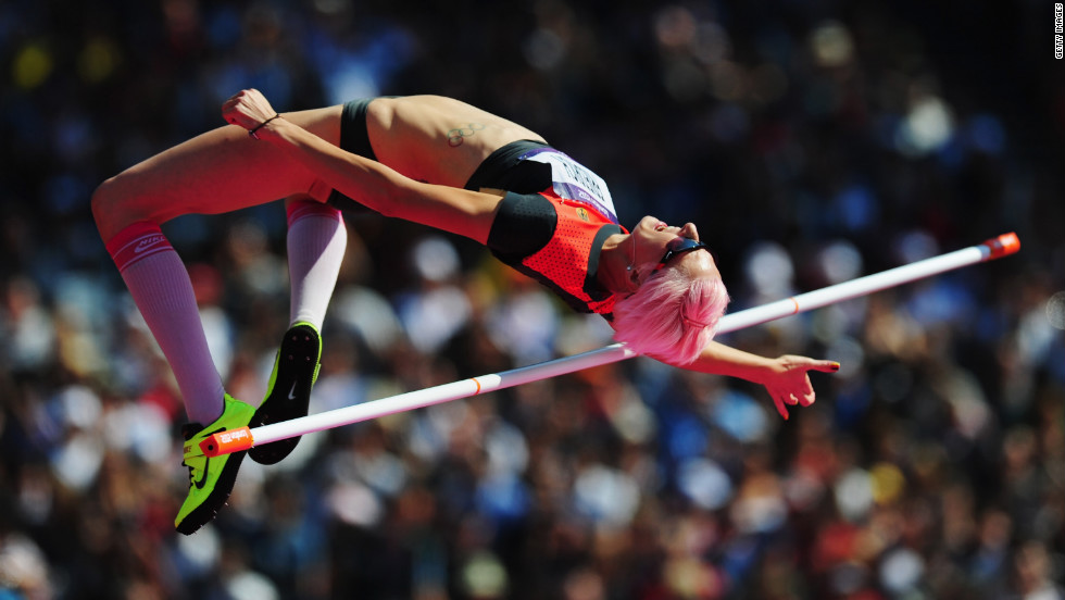 Ariane Friedrich of Germany attempts a jump during the women's high jump qualification at Olympic Stadium.