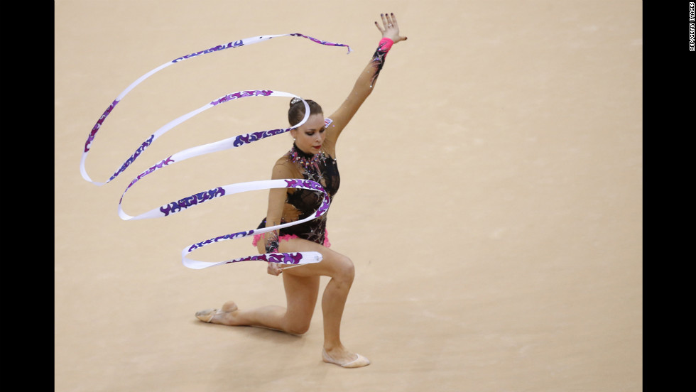 Britain's Francesca Jones performs her ribbon program during the individual all-around qualifications of the rhythmic gymnastics event.