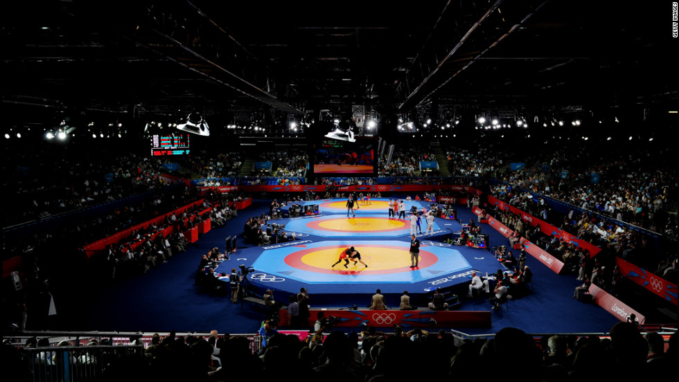 A view of the wrestling events at ExCeL in London.