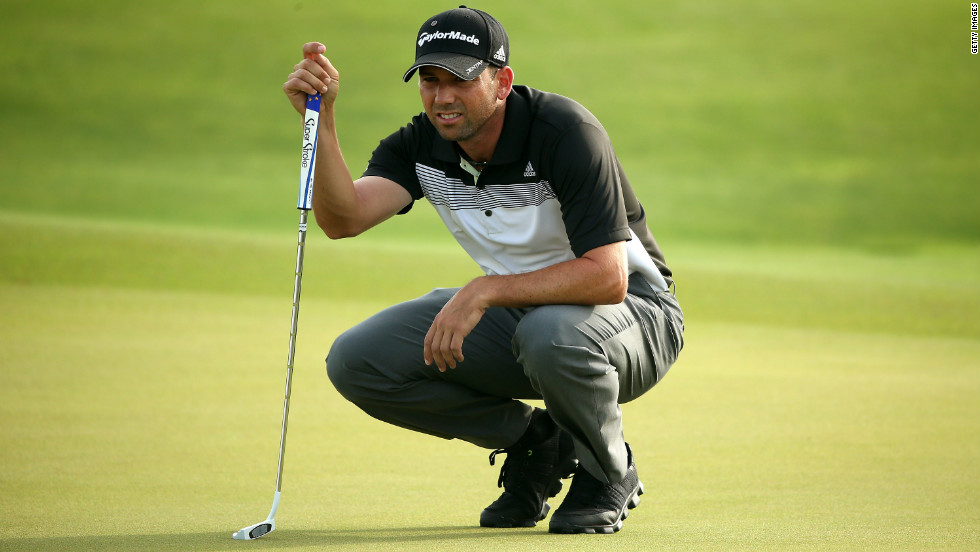 Spanish golfer Sergio Garcia lines up a putt on the 10th green.