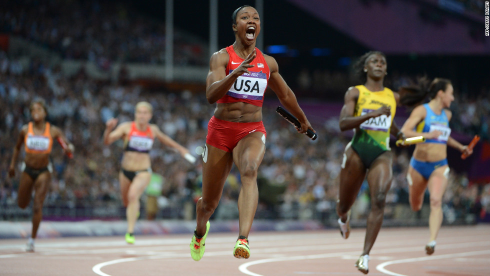 Carmelita Jeter of the United States wins the women's 4 x 100-meter relay final.
