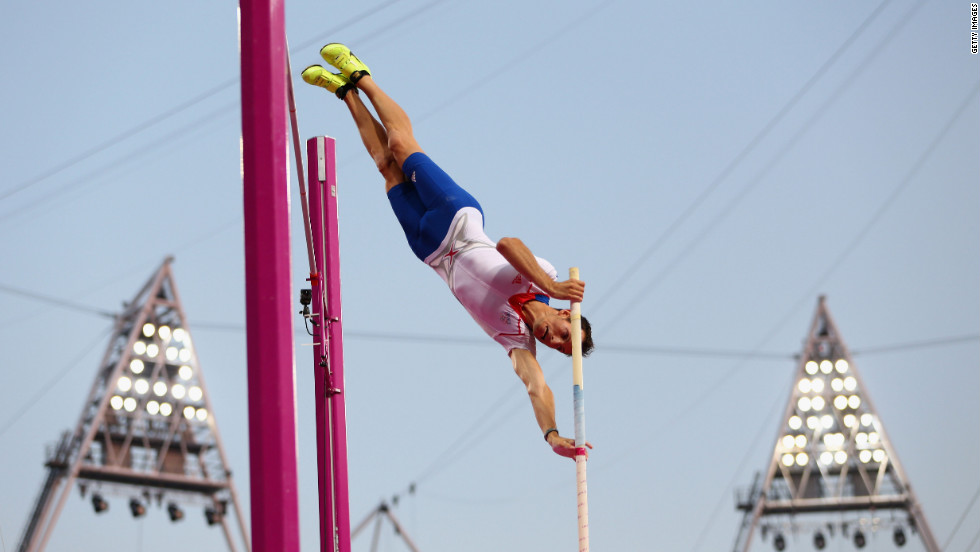 Renaud Lavillenie of France competes during the men's pole vault final.