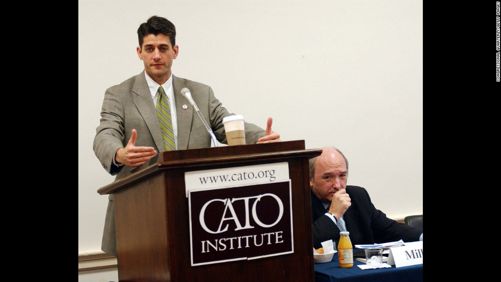 Ryan speaks at a Cato Institute briefing on Medicare reform in the Rayburn House Office Building in Washington on July 22, 2003.