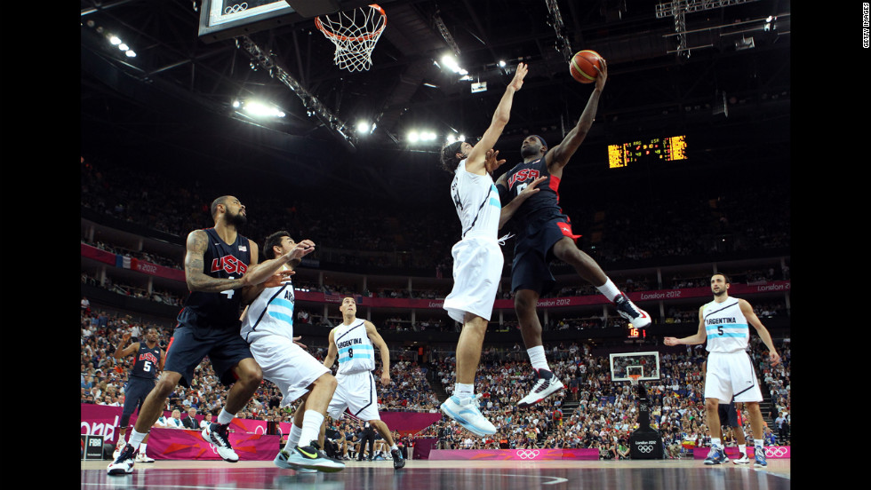 "LeBron James, No. 6 of the United States, goes up for a shot against Luis Scola, No. 4 of Argentina, during the men's basketball semifinal match on August 10. The games ran through August 12 -- <a href=""http://www.cnn.com/2012/08/09/worldsport/gallery/olympics-day-thirteen/index.html"">check out the best moments from Day 13 of competition</a> on Thursday."