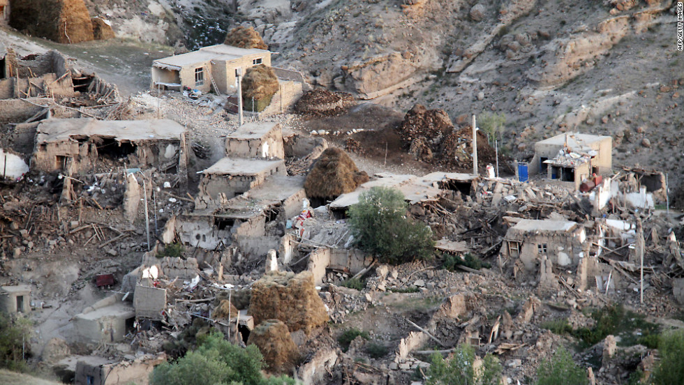 The village of Ishkhal lies in rubble after two earthquakes hit the area Saturday.  A third quake with a magnitude of 4.0 struck Sunday.