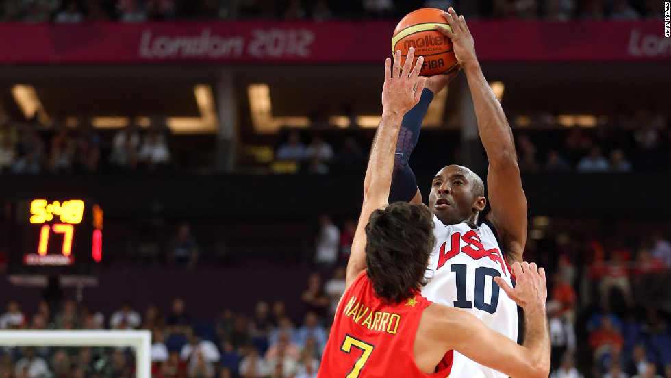 Kobe Bryant of the United States shoots a three-point shot over Juan-Carlos Navarro of Spain.