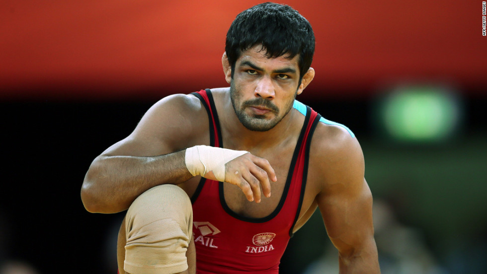 India's Sushil Kumar reacts during his fight against Japan's Tatsuhiro Yonemitsu in their men's 66-kilogram freestyle gold medal wrestling match. Kumar won the silver medal.
