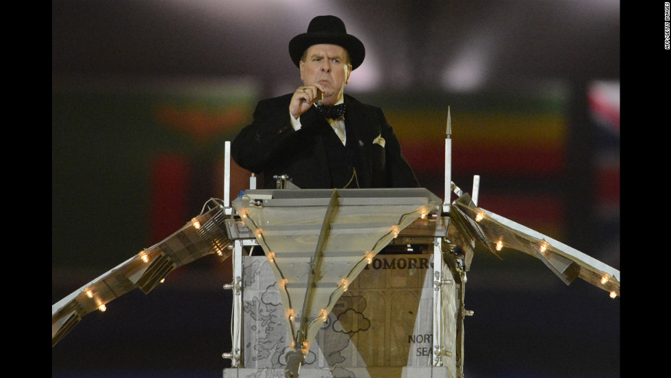 British actor Timothy Spall portrays Winston Churchill during the closing ceremony.