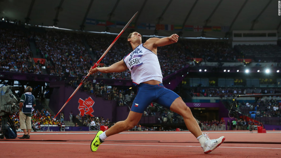 Vitezslav Vesely of Czech Republic competes during the Men's Javelin Throw final.