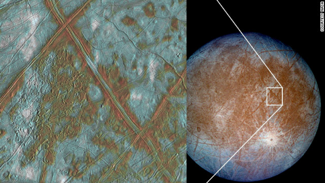Jupiter's moon Europa has a crust made up of blocks, evidence that Europa may have once had a subsurface ocean.