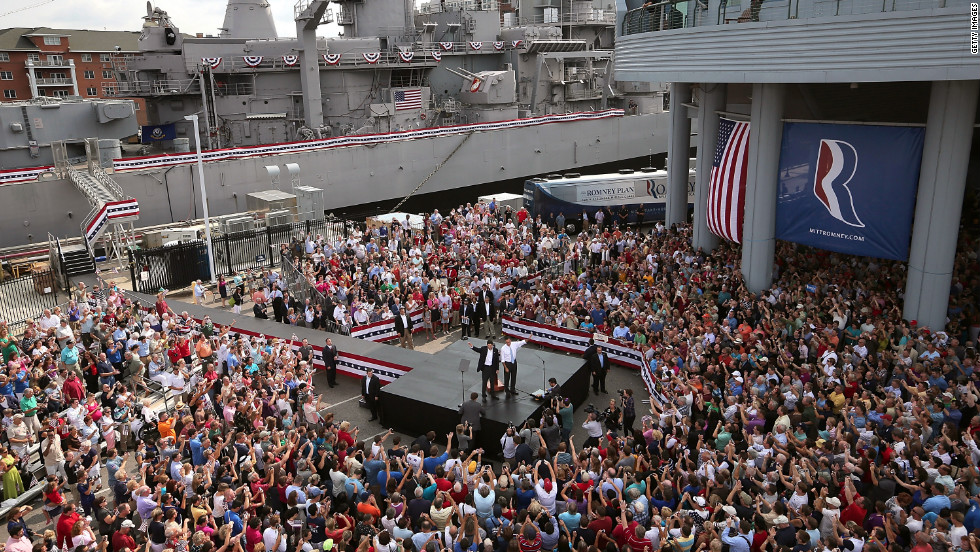 Romney introduced Ryan as his running mate in front of the USS Wisconsin. The seven-term congressman provides a strong contrast to the Obama administration on fiscal policy.