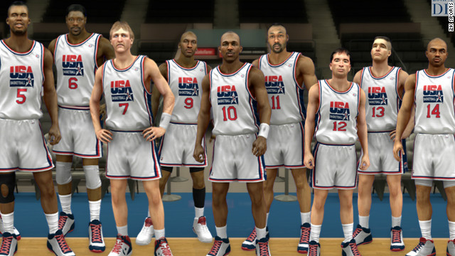 "Michael Jordan, No. 9, and other members of the ""Dream Team"" that won gold in the 1992 Olympic Games in Barcelona."