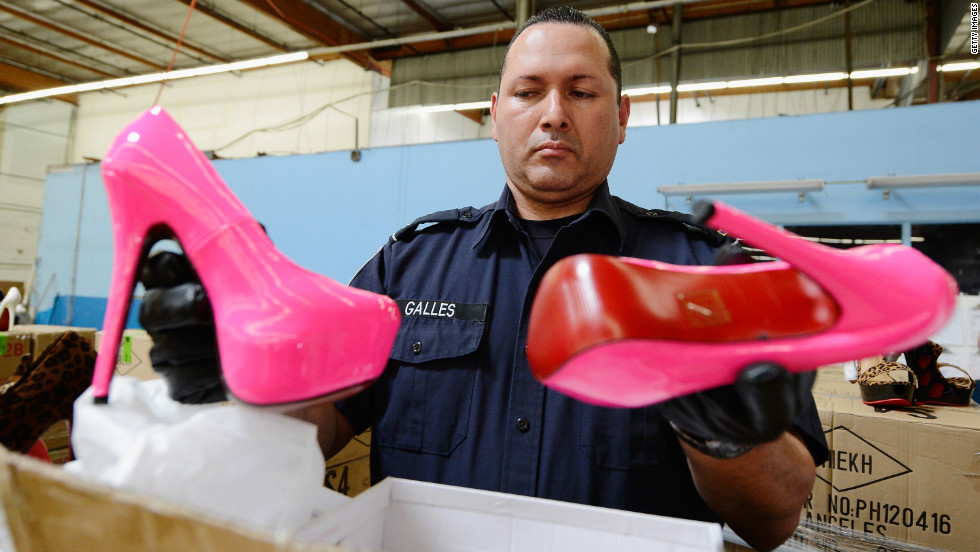 U.S. Customs and Border Protection officers seized enough counterfeit  Louboutin pumps and high heels to garner