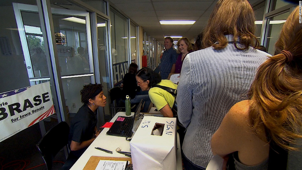 "The urgency at the Obama campaign office in Davenport is apparent. Everyone in line for tickets to one of the president's rallies is asked if he or she is registered to vote. ""I think we still have an organizational advantage in this state,"" Obama political strategist David  Axelrod says."