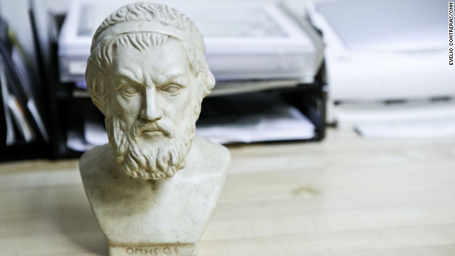 Among the items decorating Katz's office is a bust of Homer found at a garage sale.