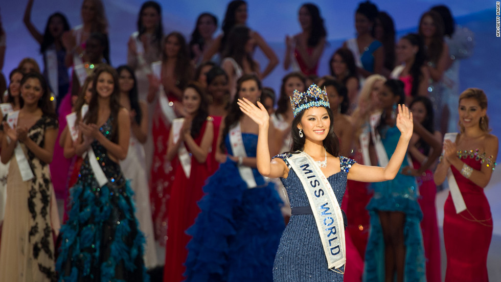 Miss China, Yu Wenxia, waves to the audience after being crowned Miss World 2012 during the pageant's final ceremony in Ordos, Inner Mongolia, on Saturday, August 18. Wenxia topped more than 100 other hopeful beauty queens.
