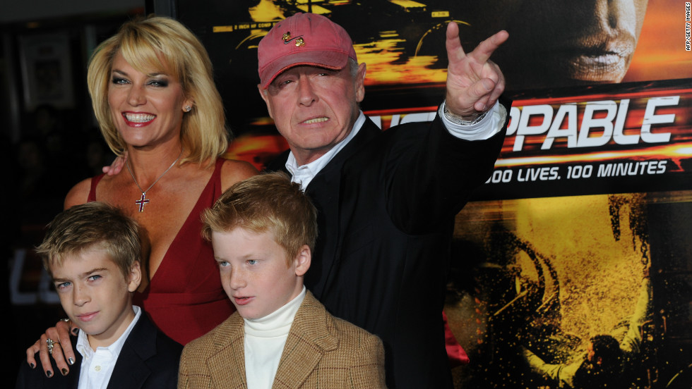 "Scott and his family celebrate the premiere of the movie ""Unstoppable"" in October 2010."