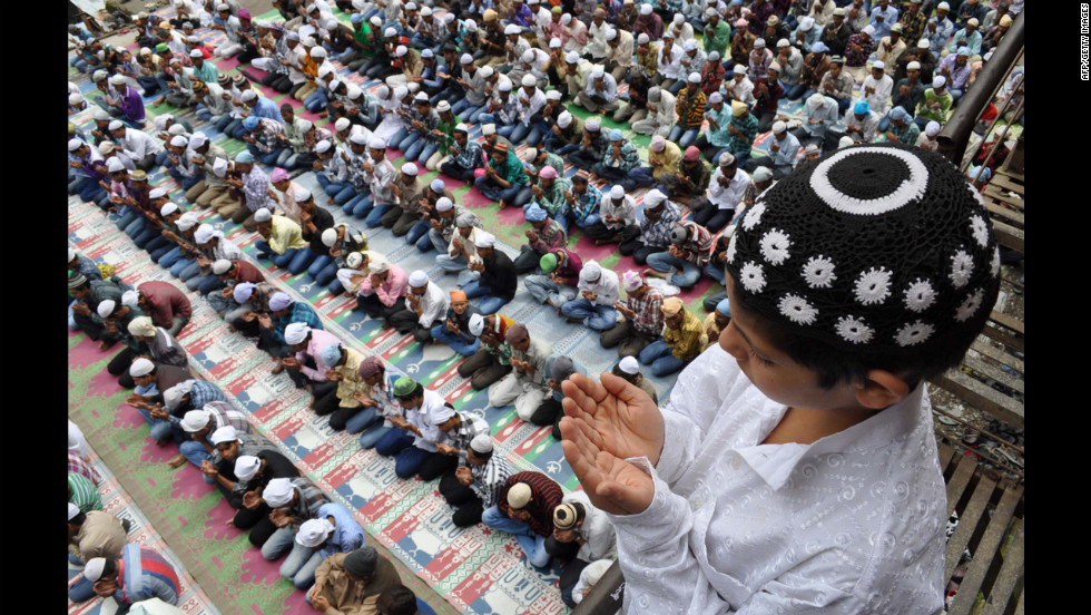 Indian Muslims offer Eid al-Fitr prayers in the northern town of Shimla on Monday.