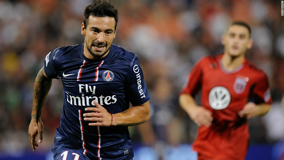 <strong>Napoli to Paris Saint-Germain</strong>Argentina international forward Ezequiel Lavezzi arrives at PSG with a $36.25 million price tag and a big reputation following his five years in Italy. He will link up with another former Serie A star in Zlatan Ibrahimovic.